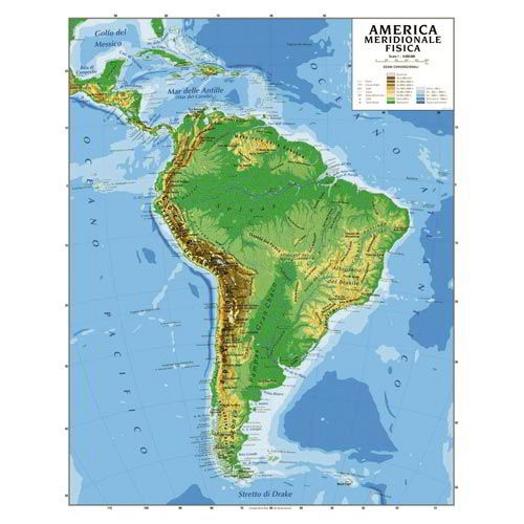 Cartina Geografica Veneto Fisica.Carta Geografica America Meridionale Plastificata Fisica Politica 100x140 Cm Ebay