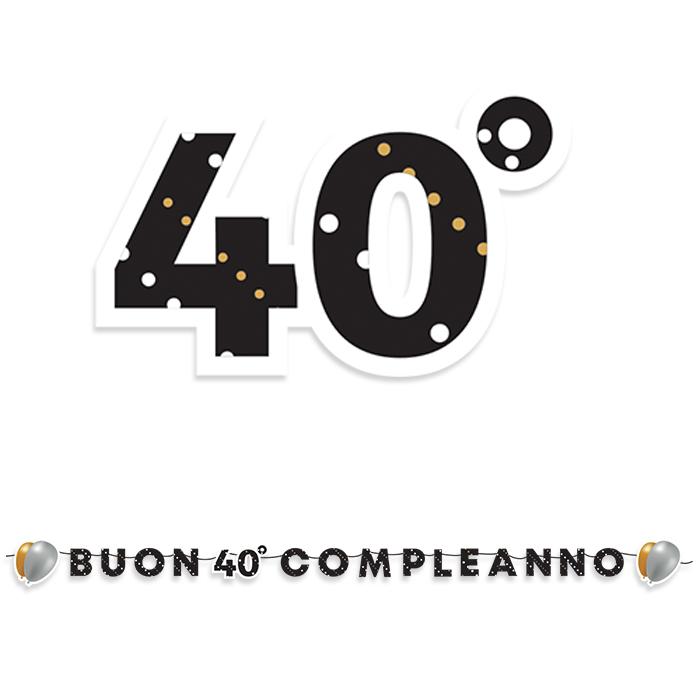 Popolare FESTONE MAXI SCRITTA BUON COMPLEANNO 40 ANNI LINEA PRESTIGE 6 MT JP62