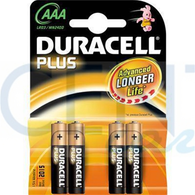 BATTERIE MINI STILO AAA DURACELL DURALOCK PLUS POWER ALKALINE 4 PZ.