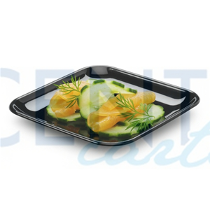 PIATTI QUADRATI FINGER FOOD IN PLASTICA RIGIDA NERI CM. 6,5 CF. 50 PZ.
