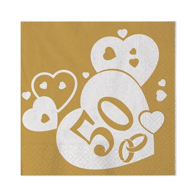 Tovaglioli 50 Anni Matrimonio Nozze D Oro Cm 25x25 Conf 20 Pezzi Feste E Party