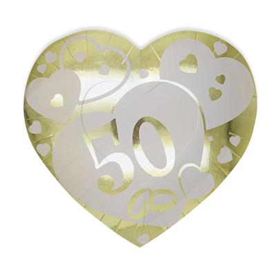 Piatti Cuore 50 Anni Matrimonio Nozze D Oro Cm 26x24 Conf 6 Pezzi Feste E Party