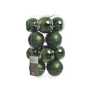 BOX 16 SFERE NATALE IN VETRO LUCIDE SATINATE VERDE PINO 8 CM. KAEMINGK DECORIS