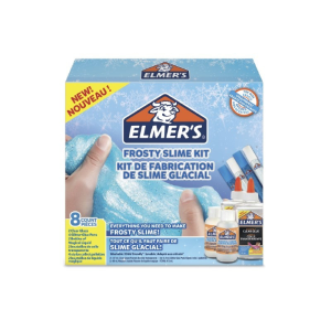 ELMER's FROSTY SLIME KIT : contenente 2 Flaconi di colla Trasparente da 147 ml + 2 Flaconi di MAGICAL LIQUID da 68 ml + assortimento di 4 tubetti di colla brillantini colorati FROSTY