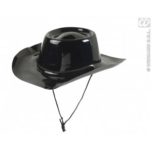 CAPPELLO NERO COW BOY IN PVC ADULTO