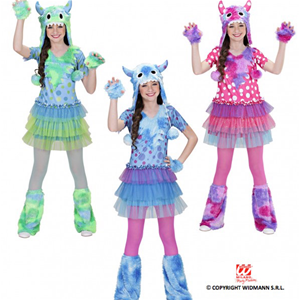 CARNEVALE HALLOWEEN COSTUME MOSTRO MONSTER GIRL BAMBINA 3/4 ANNI