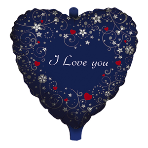 PALLONCINO MYLAR ELIO SAGOMATO A FORMA DI CUORE SCRITTA I LOVE YOU LOVE MESSAGE FESTE E PARTY