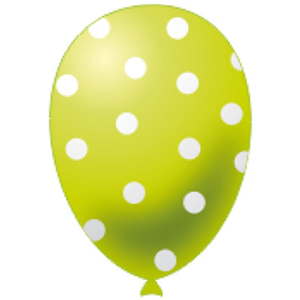 PALLONCINI MAXI IN LATTICE VERDE LIME A POIS BIANCHI CF.12 PZ. FESTE E PARTY