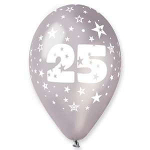 PALLONCINI IN LATTICE ARGENTO CON NUMERO 25 CONF. 12 PEZZI FESTE E PARTY