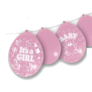 PALLONCINI IN LATTICE ROSA NASCITA CON SCRITTA IT'S A GIRL CONF. 14 PEZZI FESTE E PARTY