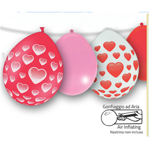 PALLONCINI IN LATTICE LOVE CON CUORI AMORE 6 PZ. + 8 PZ. NEUTRI