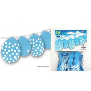 PALLONCINI IN LATTICE CELESTI CON POIS CONF. 14  PEZZI FESTE E PARTY