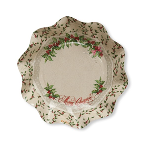 PIATTI COPPETTE IN CARTA SHABBY CHRISTMAS CF. 10 PZ. EXTRA NATALE FESTE E PARTY