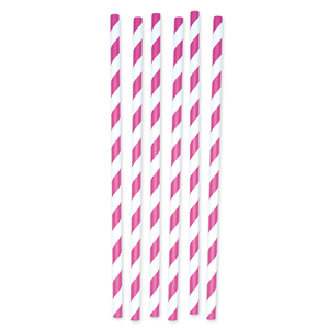 CANNUCCE STRIPES FUCSIA IN CARTONCINO CF. 12 PZ.