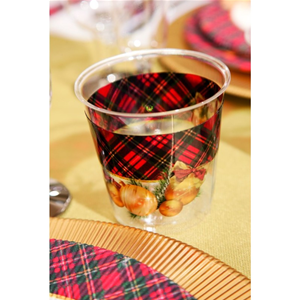 BICCHIERI KRISTALL IN PLASTICA RIGIDA SCOTTISH CHRISTMAS CONF. 8 PEZZI EXTRA NATALE FESTE E PARTY
