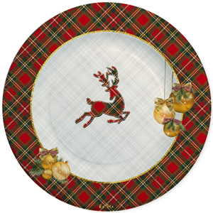 PIATTI PICCOLI IN CARTA SCOTTISH CHRISTMAS CM 21 CONF. 8 PEZZI NATALE FESTE E PARTY