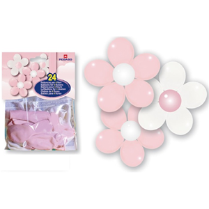 KIT PALLONCINI IN LATTICE PER QUATTRO FIORI BIANCHI E ROSA CF. 24 PZ. FESTE E PARTY