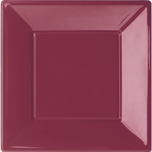 PIATTO QUADRATO BORDEAUX IN PLASTICA RIGIDA CM.23 CF.6 PZ. FESTE E PARTY