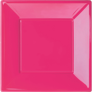 PIATTO QUADRATO FUXIA IN PLASTICA RIGIDA CM.23 CF.6 PZ. FESTE E PARTY