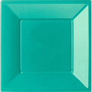 PIATTO QUADRATO FONDO VERDE ACQUA TIFFANY IN PLASTICA RIGIDA CM. 18 CF.6 PZ. FESTE E PARTY