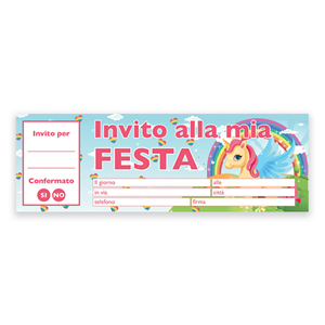 INVITI PER FESTA UNICORNO CONF. 20 FOGLI FESTE E PARTY