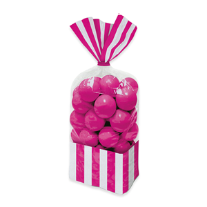 SACCHETTINI RETTANGOLARI IN CELLOPHANE 25 CM  STRIPES FUXIA CONF DA 10  FESTE E PARTY