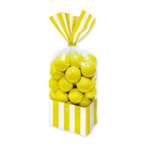 SACCHETTINI 25 CM RETTANGOLARI CELLOPHANE STRIPES GIALLO CONF DA 10 PZ FESTE E PARTY
