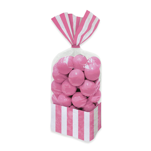 SACCHETTINI 25 CM IN CELLOPHANE STRIPES  ROSA 10 PX PER CONFEZIONE FESTE E PARTY