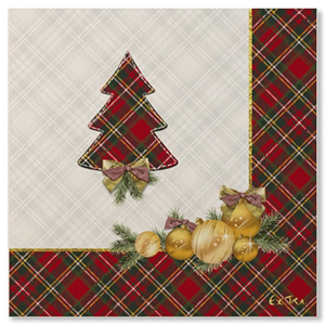 TOVAGLIOLI IN CARTA SCOTTISH CHRISTMAS CM. 33X33 CF. 20 PZ. EXTRA NATALE FESTE E PARTY
